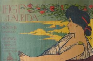 Cartell de Miquel Utrillo per a la representació d'Ifigènia a Tàuride, de Goethe, traduïda per Joan Maragall, el 1898. Premonició de canvis...