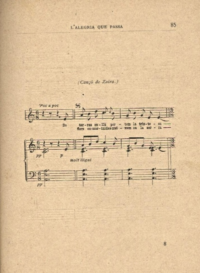Enric Morera. Cançó de Zaira. LAP 1898