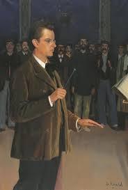 Santiago Rusiñol, Retrat d'Enric Morera dirigint la coral Catalunya Nova (1897). Museu del Cau Ferrat, Sitges.
