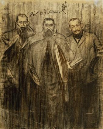 Ramon Casas, RC entre Miquel Utrillo i Leandre Galceran, c.1899, publ P&P, MNAC, 027827-D
