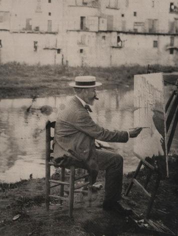 1908 aprox.SR pintant a Girona les cases de l'Onyar