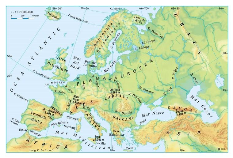 Relleu i rius d'Europa