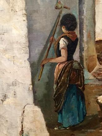 La dona que emblanquina la façana de casa seva al carrer d'en Bosch, a Sitges, per Joaquim de Miró (1880, Museu de Maricel)